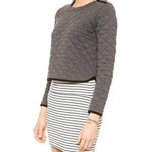 Madewell Gray Quilted Crop Top Sweatshirt Size L